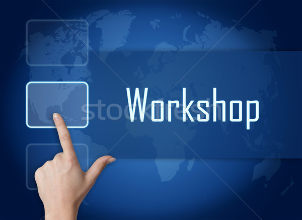 Atelier interface carte du monde bleu réunion travaux Photo stock © Mazirama