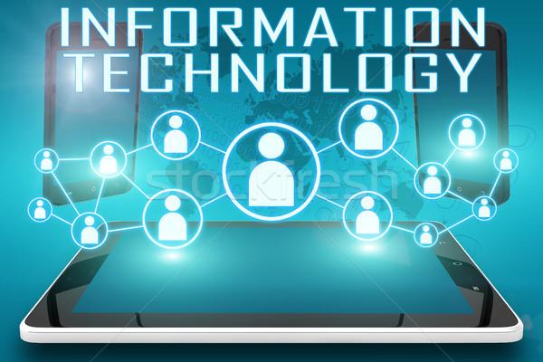 Bilgi teknolojisi metin örnek sosyal simgeler Stok fotoğraf © Mazirama