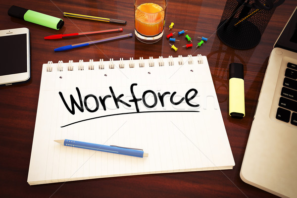 Forza lavoro manoscritto testo notebook desk rendering 3d Foto d'archivio © Mazirama