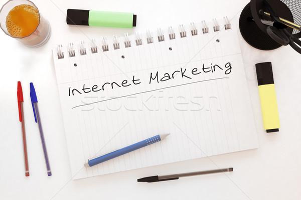 Internet marketing kézzel írott szöveg notebook asztal 3d render Stock fotó © Mazirama