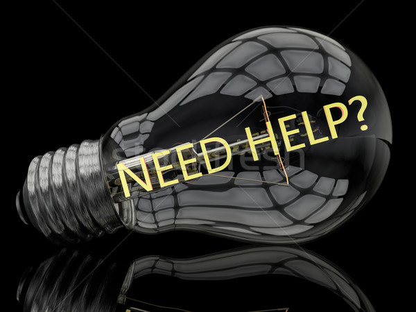 Necessidade ajudar lâmpada preto texto 3d render Foto stock © Mazirama