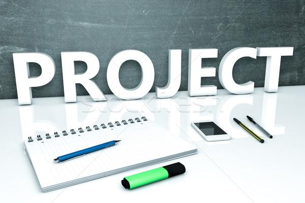 Projet texte tableau portable stylos téléphone portable Photo stock © Mazirama