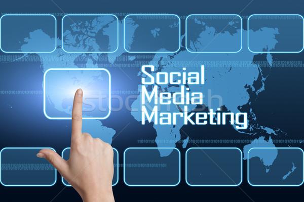 Közösségi média marketing interfész világtérkép kék technológia Stock fotó © Mazirama