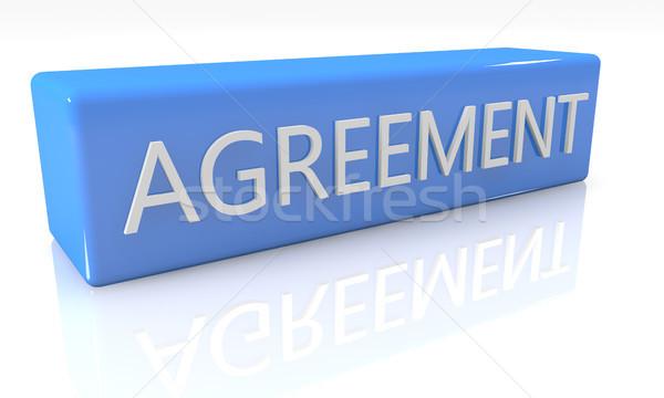 Anlaşma 3d render mavi kutu beyaz yansıma Stok fotoğraf © Mazirama