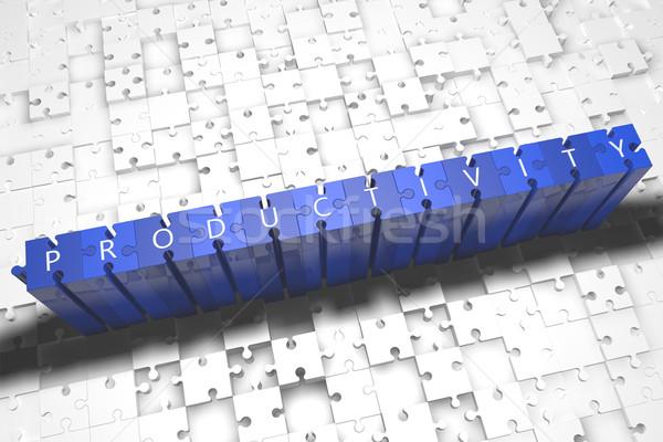 Produtividade quebra-cabeça 3d render ilustração cartas azul Foto stock © Mazirama