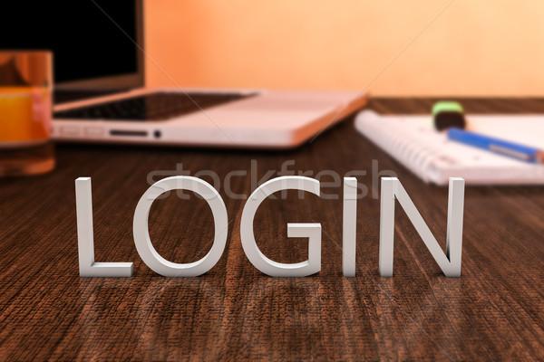 Stock fotó: Bejelentkezés · levelek · fából · készült · asztal · laptop · számítógép · notebook