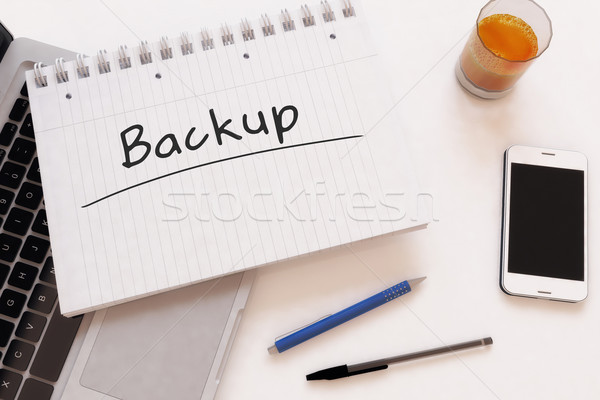 Backup tekst notebook bureau 3d render Stockfoto © Mazirama