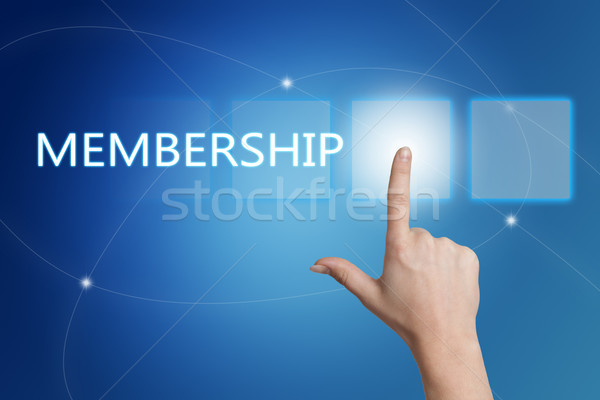 Stockfoto: Lidmaatschap · hand · knop · interface · Blauw
