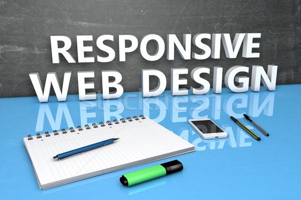 Duyarlı web tasarım metin kara tahta defter kalemler Stok fotoğraf © Mazirama