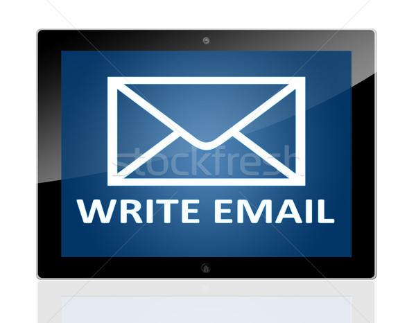Tablet schrijven e-mail mail symbool Stockfoto © Mazirama