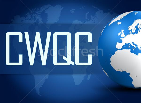 Companhia grande controle de qualidade globo azul mapa do mundo Foto stock © Mazirama