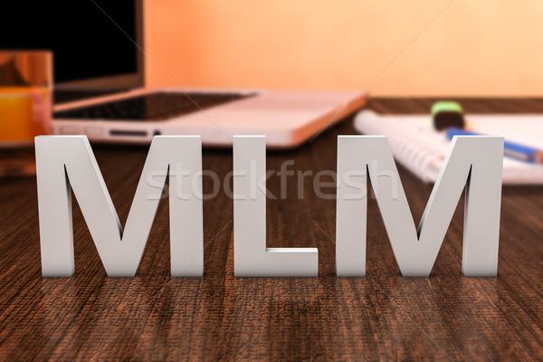 Niveau marketing mlm brieven houten bureau Stockfoto © Mazirama