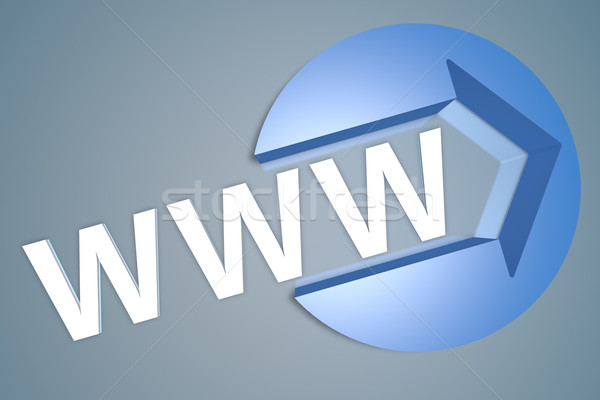 World wide web www 3d tekst geven illustratie pijl Stockfoto © Mazirama