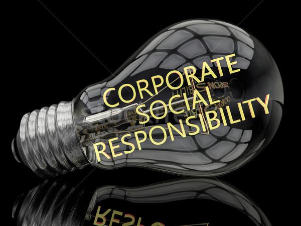 Kurumsal sosyal sorumluluk ampul siyah metin Stok fotoğraf © Mazirama