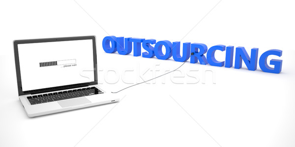 Outsourcing laptop notebook computer woord witte Stockfoto © Mazirama