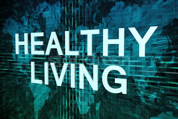 Stockfoto: Gezond · leven · tekst · groene · digitale · wereldkaart · fitness
