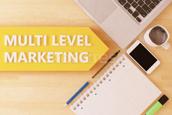 Niveau marketing linéaire texte flèche portable Photo stock © Mazirama