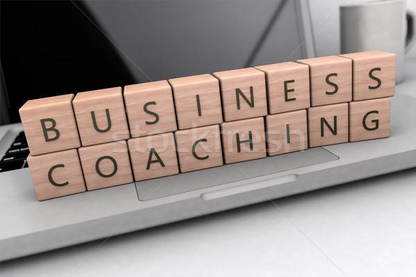 ビジネス コーチング 文字 木製 キューブ ノートブック ストックフォト © Mazirama