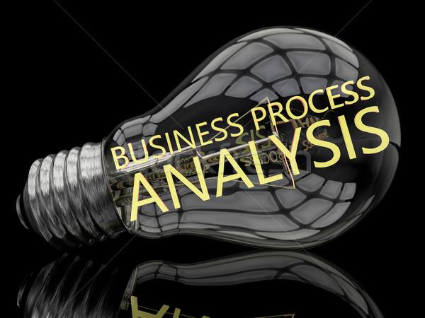 Iş süreç analiz ampul siyah metin Stok fotoğraf © Mazirama