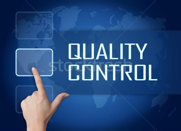 Controle de qualidade interface mapa do mundo azul negócio indústria Foto stock © Mazirama