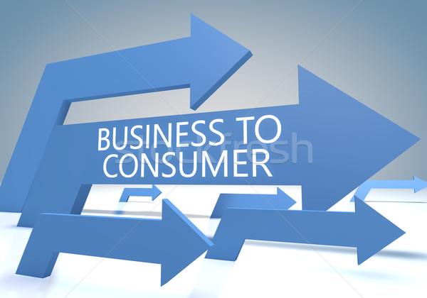 Iş tüketici vermek mavi oklar web Stok fotoğraf © Mazirama