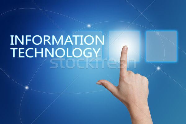Informatika kéz kisajtolás gomb interfész kék Stock fotó © Mazirama