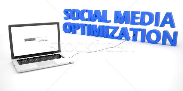 Sosyal medya optimizasyon dizüstü bilgisayar defter bilgisayar kelime Stok fotoğraf © Mazirama