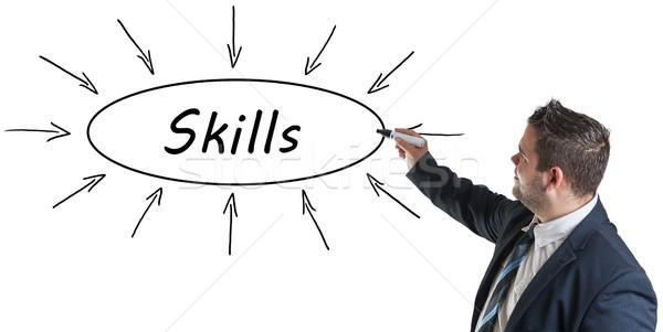 Fähigkeiten jungen Geschäftsmann Zeichnung Informationen Stock foto © Mazirama