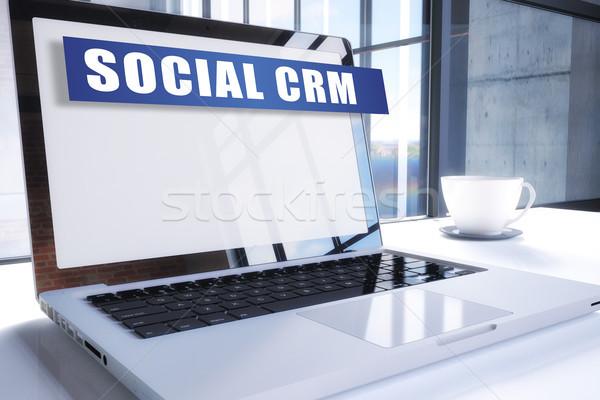 социальной crm текста современных ноутбука экране Сток-фото © Mazirama