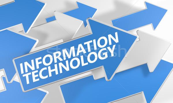 Bilgi teknolojisi 3d render mavi beyaz oklar uçan Stok fotoğraf © Mazirama
