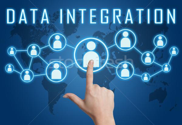 Dados integração mão social ícones Foto stock © Mazirama