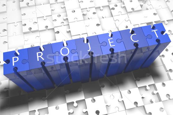 Projekt puzzle 3d render illusztráció levelek kék Stock fotó © Mazirama