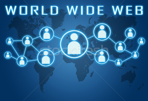 World wide web Blauw wereldkaart sociale iconen internet Stockfoto © Mazirama