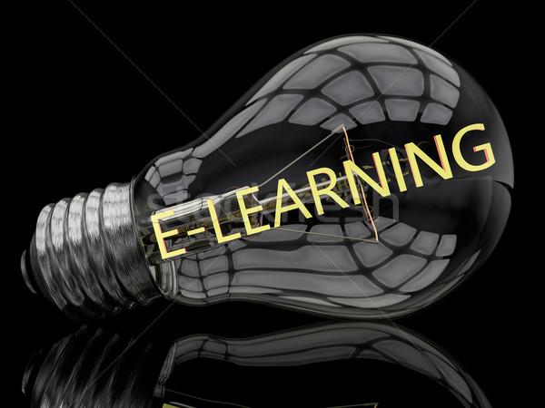 Online oktatás villanykörte fekete szöveg 3d render illusztráció Stock fotó © Mazirama