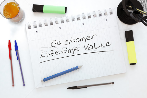 Stock fotó: Vásárló · érték · kézzel · írott · szöveg · notebook · asztal