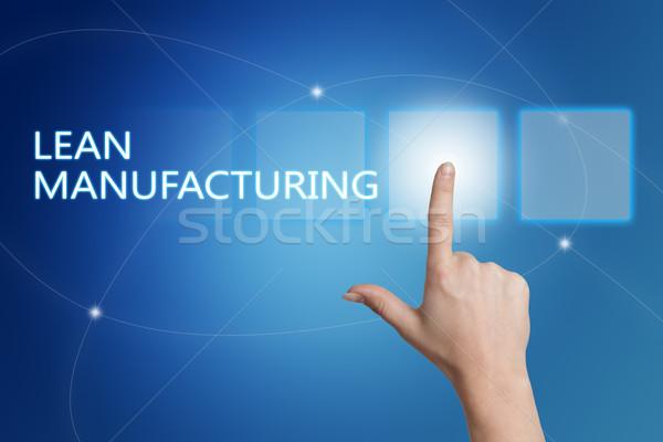 Foto stock: Fabrico · mão · botão · interface · azul