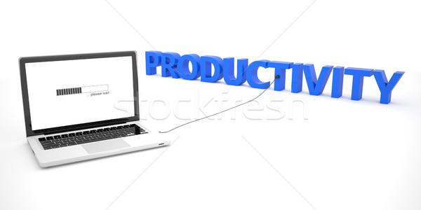 Foto stock: Produtividade · laptop · caderno · computador · palavra · branco