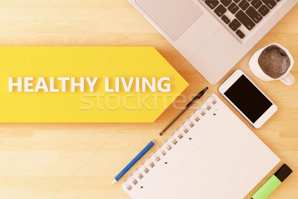 Sağlıklı yaşam doğrusal metin ok defter Stok fotoğraf © Mazirama