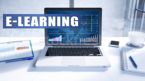 Online oktatás szöveg modern laptop képernyő iroda Stock fotó © Mazirama