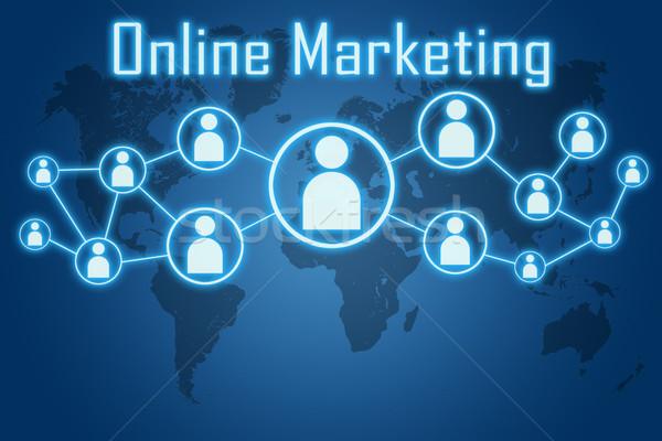 Online marketing kék világtérkép absztrakt férfiak háló Stock fotó © Mazirama