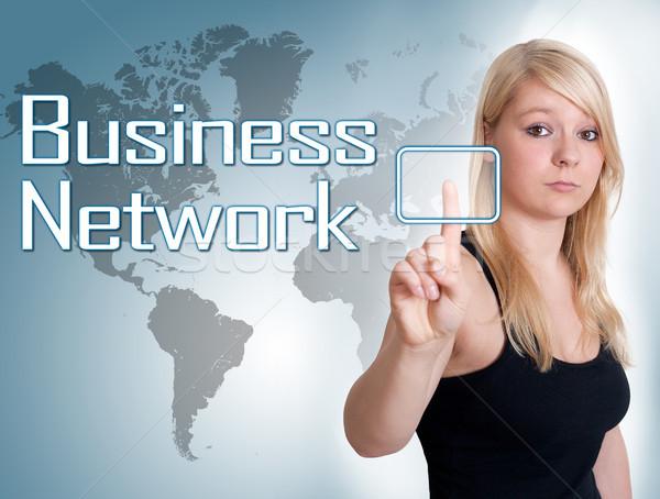 Business network młoda kobieta naciśnij cyfrowe przycisk interfejs Zdjęcia stock © Mazirama