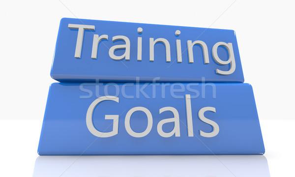 訓練 3dのレンダリング 青 ボックス 白 ストックフォト © Mazirama