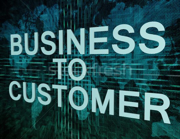Business klant tekst groene digitale wereldkaart Stockfoto © Mazirama