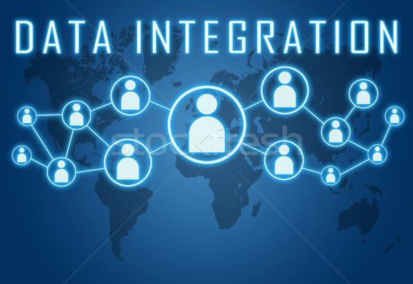 Gegevens integratie Blauw wereldkaart sociale iconen Stockfoto © Mazirama