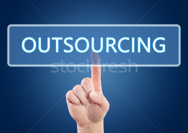 Outsourcing hand knop interface Blauw Stockfoto © Mazirama