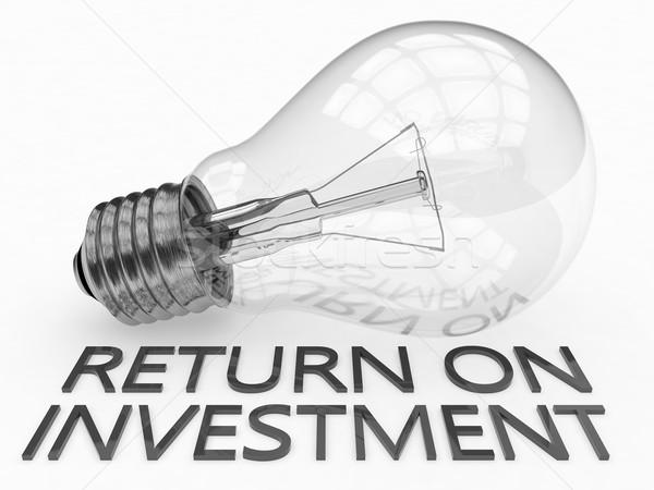 Rückkehr Investitionen Glühbirne weiß Text 3d render Stock foto © Mazirama