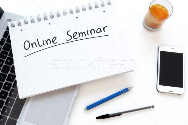 Stock fotó: Online · előadás · kézzel · írott · szöveg · notebook · asztal