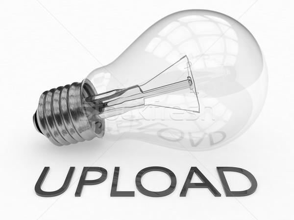 Feltöltés villanykörte fehér szöveg 3d render illusztráció Stock fotó © Mazirama