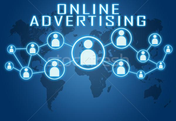 On-line publicidade azul mapa do mundo social ícones Foto stock © Mazirama