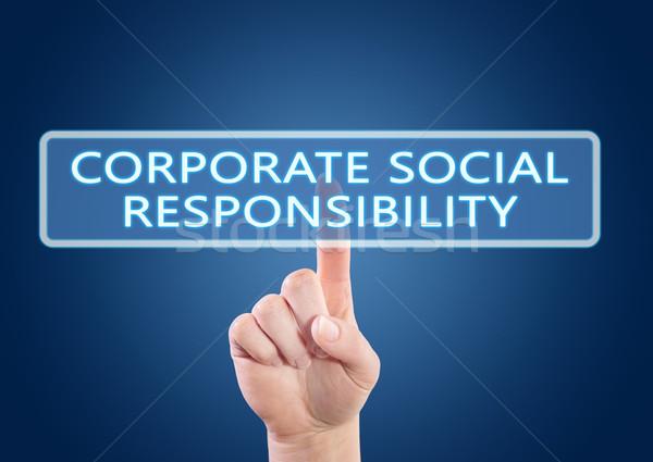Kurumsal sosyal sorumluluk el düğme Stok fotoğraf © Mazirama